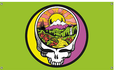 Grateful Dead Steal Your Face Fire On The Mountain Flag - Green