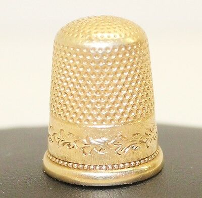 RARE VINTAGE 16K Solid Gold Engraved Thimble Size 9
