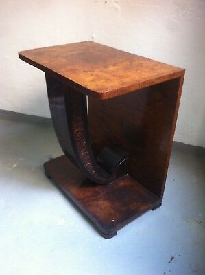 Small Spanish Vintage Art Deco French Style Walnut Console Table, 1920s Antique