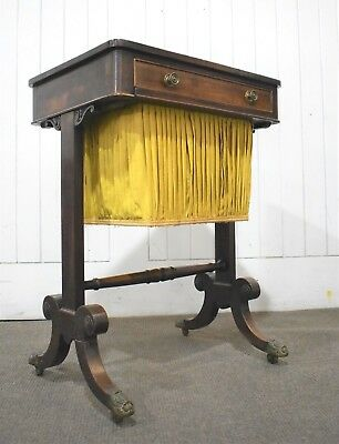 Antique Victorian double sided side storage table - sewing box work table