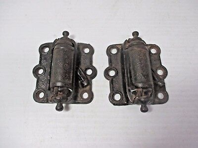 Pair of Cast Iron Antique Ornate Victorian Spring Door Hinges Marked LS