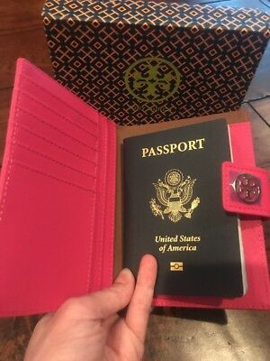 ~RARE~ Tory Burch Pink Robinson York Saffiano Leather Passport Case Wallet NEW