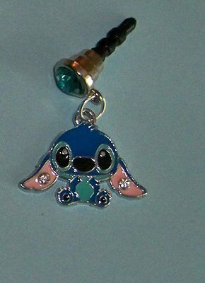 Cell Phone Anti Dust Plug Cover Disney Rhinestone Dangle Charm Lilo Stitch