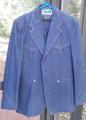 Vintage Levi's Panatella Denim 3 Pc Suit-New W/o Tags Size 38R Rare!