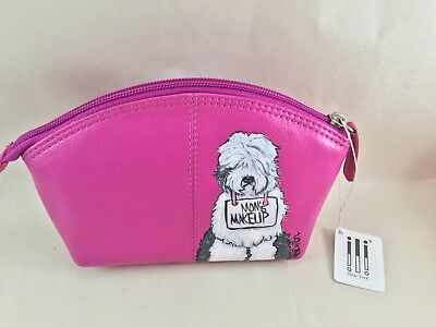 hand painted Old English sheepdog hot pink leather makeup case