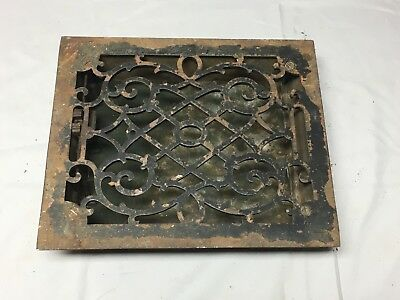 Antique Cast Iron Heat Grate Floor Vent Register Vtg Victorian Old 8x10 04-17B