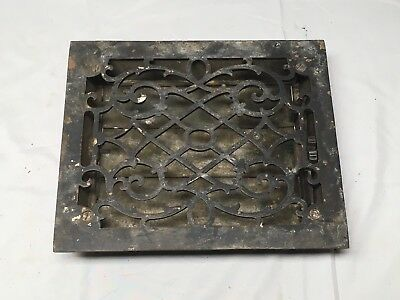 Antique Cast Iron Heat Grate Floor Vent Register Vtg Victorian Old 8x10 02-17B