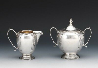 R. Blackington & Co Sterling Gold Washed Hand Chased Creamer Lidded Sugar A650