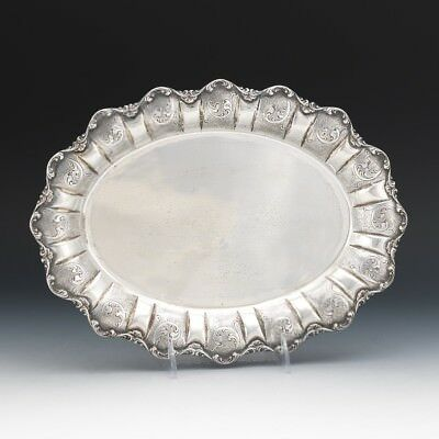 Italian 800 Silver Hand Chased Scroll Design Oval Tray Platter  418 grams