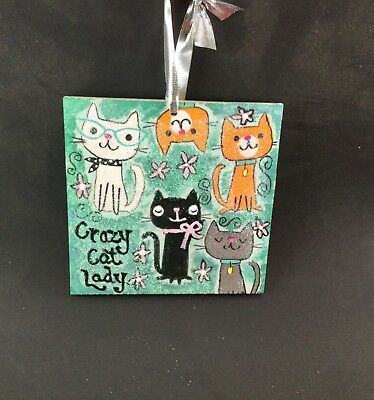 "Adorable ""crazy cat lady"" mixed media Christmas ornament"