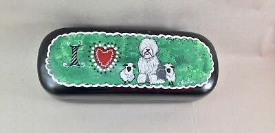 hand painted old English sheepdog clamshell eyeglass case
