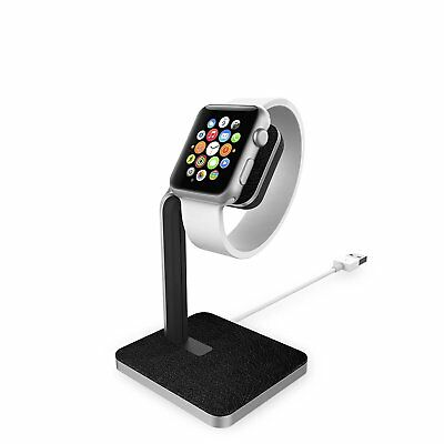 Apple Watch Mophie Charging Dock with Aluminium Construction & Leather NEW
