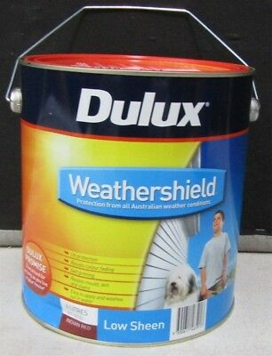 Dulux 4 Litre Weathershield Exterior Low/sheen Indian-Red Colour Paint