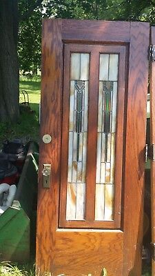 "PAIR 2 ANTIQUE LEAD GLASS DOORS  78"" tall and 31"" wide NICE L@@K"