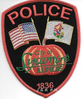 "Sycamore - 1836, IL   shoulder police patch (4"" x 5"" size) (fire)"