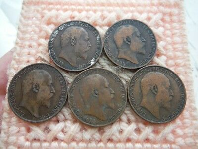 UK Great Britain 1903, 1905, 1908, 1909, 1910 1/2 Penny Edward Lot of 5