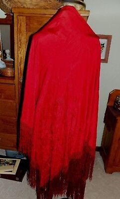 """Beautiful Antique Silk Embroidered Piano SHAWL Bright Cranberry Red 74"""""""