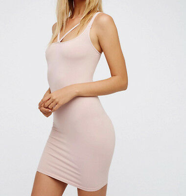 NEW Free People Intimately Front Strap Dress in Soft Pink Sz XS/S-M/L $44.54