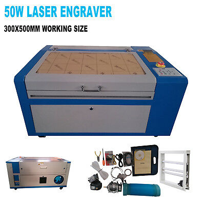50W CO2 Laser Engraving Machine Engraver Cutter w/ Water Air Pump Rotary Device