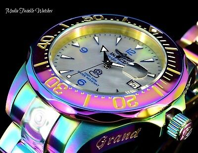 Invicta 47mm Grand Diver Automatic Platinum MOP Dial IRIDESCENT Bracelet Watch !