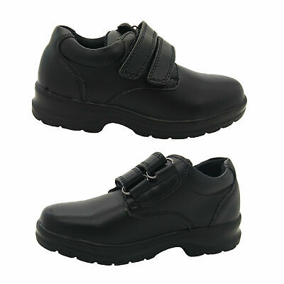 Boys Shoes Grosby Evan Black Leather Hook and Loop School Shoe NEW Sizes 10-6