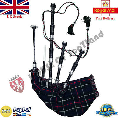 Great Scottish Highland Bagpipes Black Silver With Tutor Book & Practice Chanter