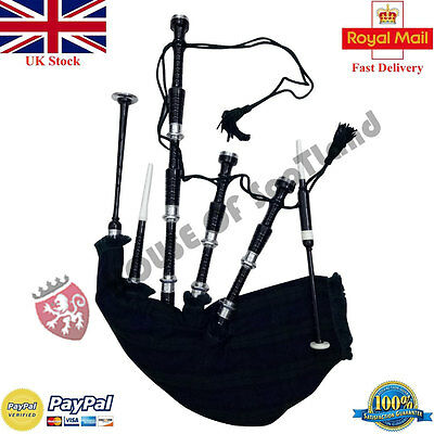 Great Scottish Highland Bagpipe Rosewood Black Silver Amount Tutor Book Chanters