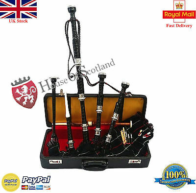 Scottish Great Highland Bagpipes Rosewood Silver Amount with Tutor Book &Hard Ca