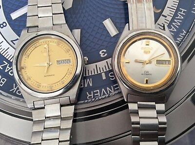 Vintage Pair Of SEIKO 5 Automatic Stainless Steel Case and Bracelet Watches!