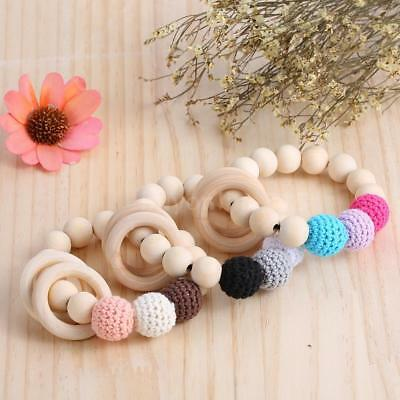 Safety Natural Wood Grain Baby Teething Nursing Bracelet Chew Teether Toy E2R5