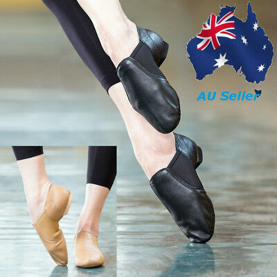 AU Fashion Child Or Adult Cow Soft Leather Slip On Jazz Dance Shoes Black Brown