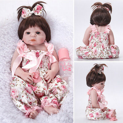 "23"" Lifelike Handmade Silicone Soft Vinyl Lovely Newborn Baby Girl Reborn Doll"