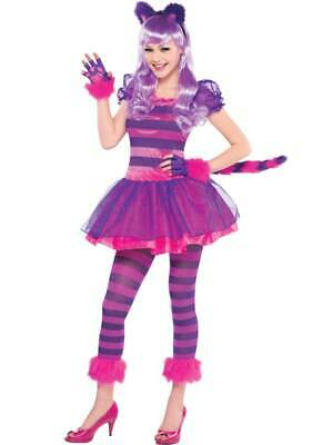 Teen Child Cheshire Cat Girls Fancy Dress Animal Book Day Week Costume Age 10-16