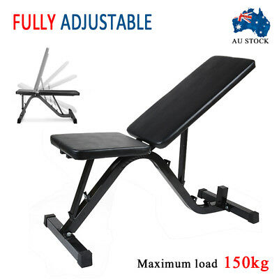 Adjustable FID Bench Flat Incline Decline Press Fitness Exercise Gym Home 150kg