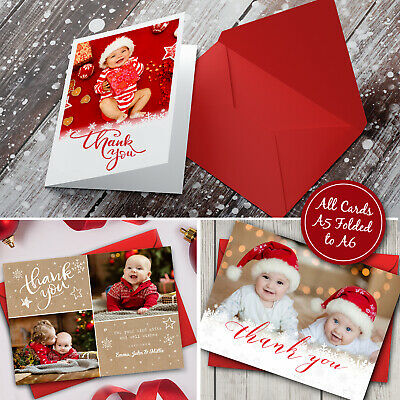 Personalised Christmas Thank You Cards Notes With Photo