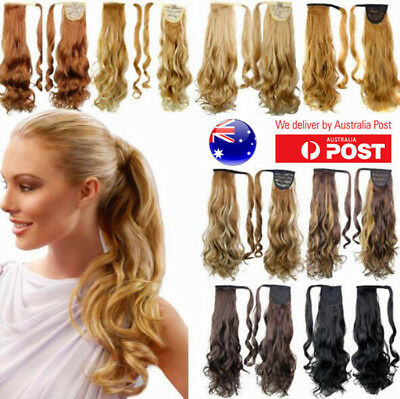 """One Piece Wrap Around Pony Tail Clip-in Hair Extensions 24"""" 61cm Curly Fake Hair"""
