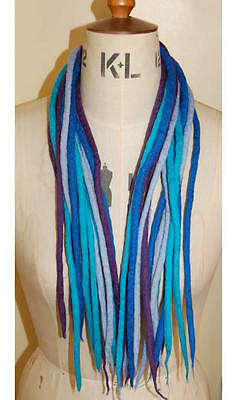 Blue combo dreadlocks - 16 Handmade felted merino wool dreads