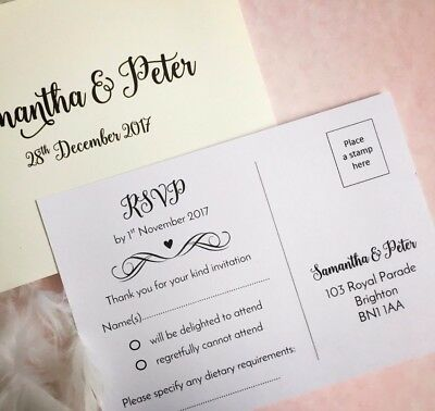 RSVP Cards ivory or white wedding and more A6 size postcard style double sided