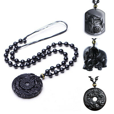 Chinese natural obsidian hand carved Wolf head lucky pendant+Beads Necklace u