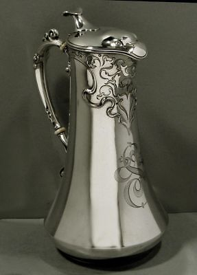 Rare Antique Simpson Hall Miller Sterling Silver Eagle Head Hot Chocolate Pot