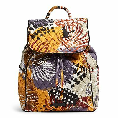 Vera Bradley Drawstring Backpack Purse in Painted Feathers