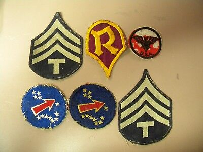 WWII Military Uniform Patches Lot Of 6