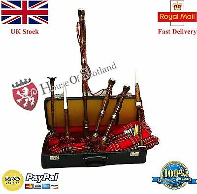Scottish Great Highland Bagpipes Rosewood Silver Mounts Free Tutor Book Reeds