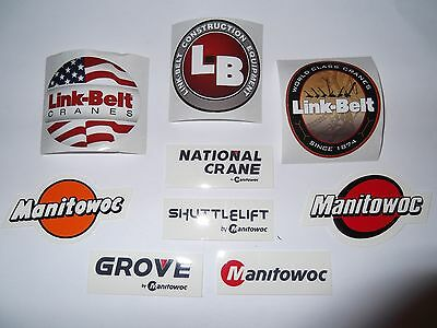 Lot Of 9 Manitowoc Grove Link-Belt Shuttlelift National Crane Hardhat stickers