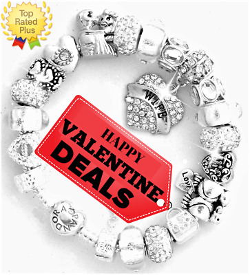 """Authentic Pandora Bracelet Silver """"My Wife the Love of My Life"""" European Charms"""