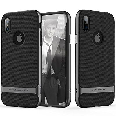 iPhone X Case Slim Fit Hard PC + Soft TPU Heavy Duty Shockproof-Black/Iron Grey
