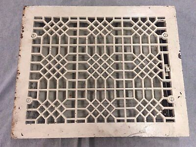 Antique Cast Iron Heat Grate Floor Vent Register Vtg Honeycomb Old 15x12 09-17B