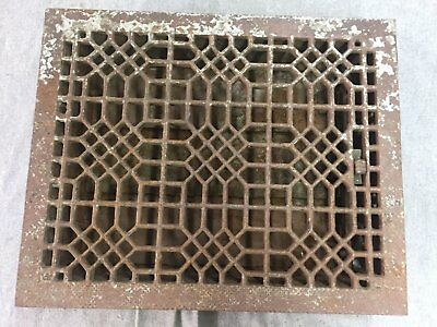 Antique Cast Iron Heat Grate Floor Vent Register Vtg Honeycomb Old 15x12 11-17B