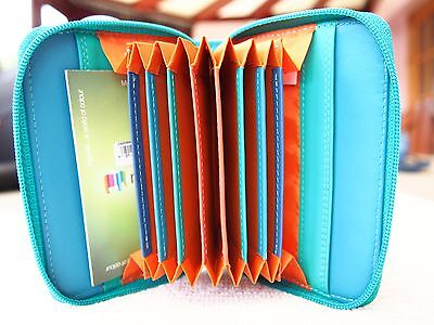 Mywalit Leather Zipped Zip Around Fan Accordion Credit Card Holder Brand New