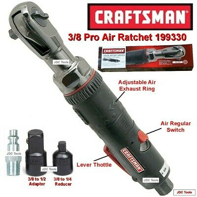Craftsman 3/8 Drive Air Ratchet Wrench w Adapter NEW 19933